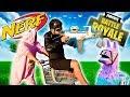 Real Life NERF Fortnite Battle Royale #4   SHOPPING CARTS BATTLE AND EMOTES!