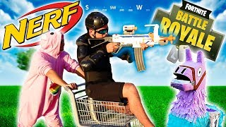 Real Life NERF Fortnite Battle Royale #4 | SHOPPING CARTS BATTLE AND EMOTES!