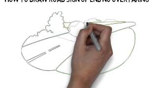 how to draw road sign of end no overtaking