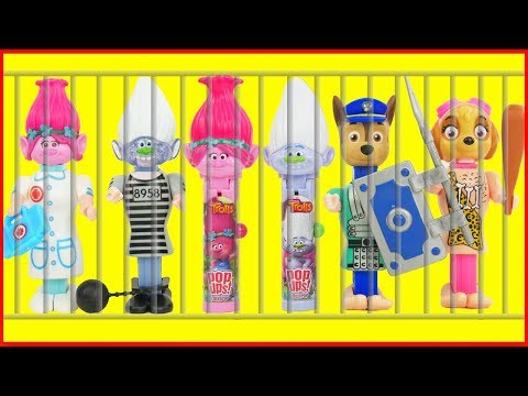 Paw Patrol Candy PEZ DISPENSERS, Trolls Lolli Pop Ups, Ba Jail