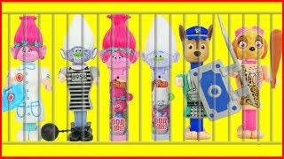 Paw Patrol Candy PEZ DISPENSERS, Trolls Lolli Pop Ups, Baby Jail