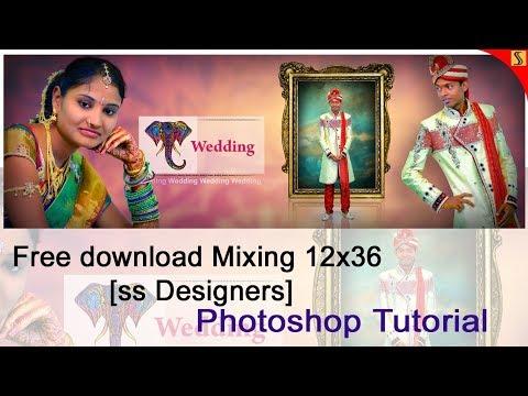 FREE PSD & How to Design WEDDING ALBUM 12 X 36 Templates Photoshop Tutorial[ss free psd]#255