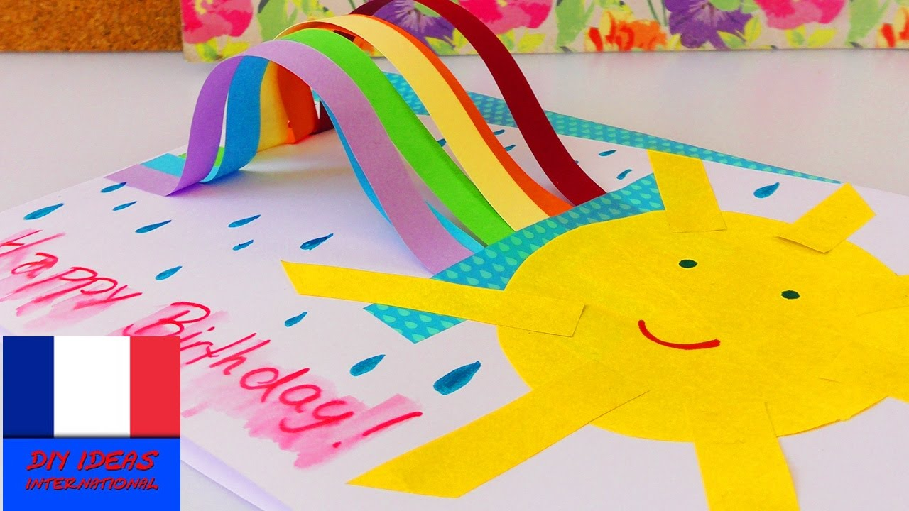 jolie carte d 39 anniversaire avec un arc en ciel faire soi m me rainbow birthday card id e diy. Black Bedroom Furniture Sets. Home Design Ideas