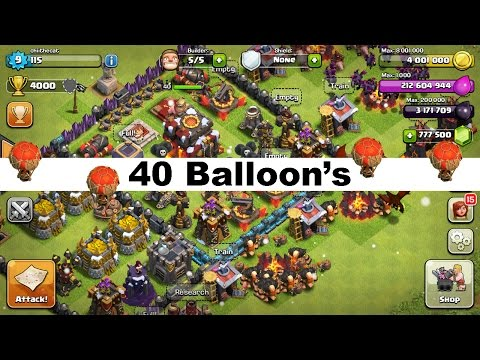 Clash of Clans 40 Level 4 Balloon Attack (lvl 4 balloons)