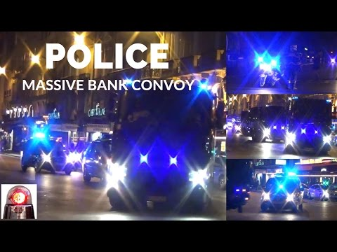 Massive Police Escort Bank Convoy - Paris
