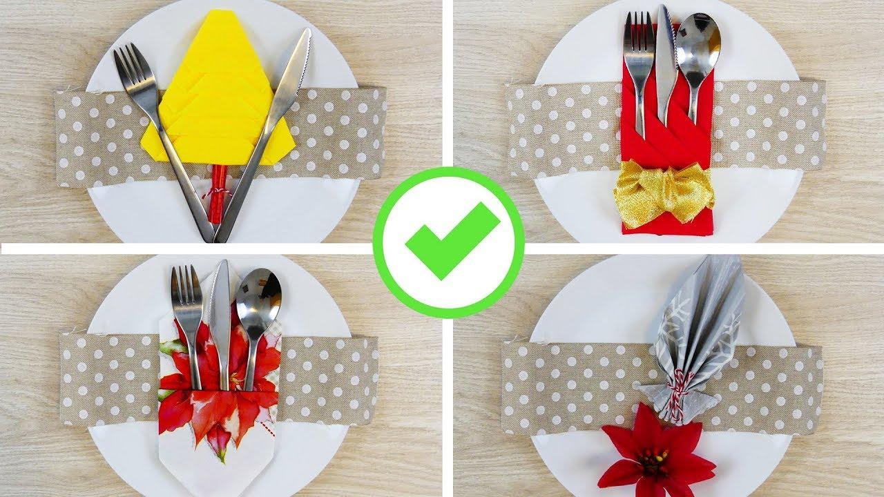 Piegare Tovaglioli Carta Natale 5 modi per piegare i tovaglioli nelle feste! - 5 napkin folding hacks for  holidays!
