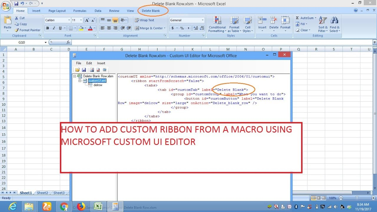 How To create Excel Ribbon from Macro with Custom UI Editor- Hindi