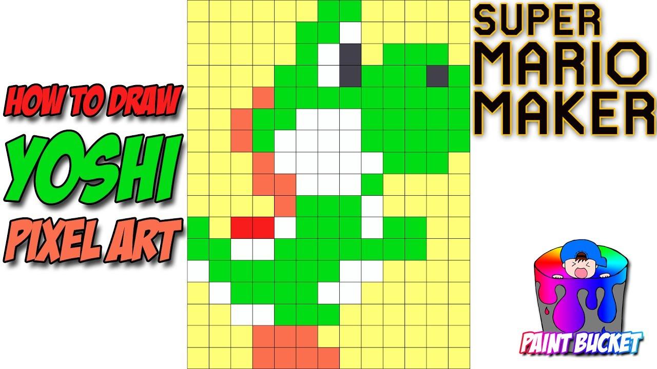 how to draw yoshi 8bit pixel art super mario maker