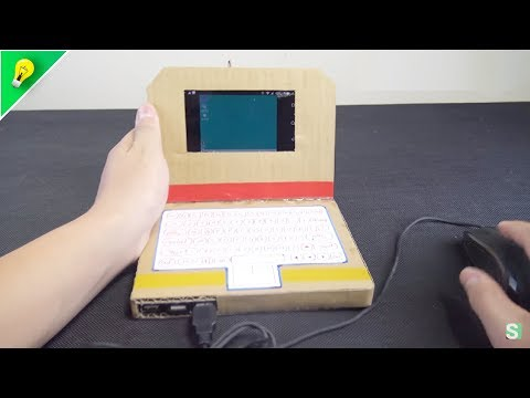 DIY Simple Cardboad Laptop with Smartphone and OTG Cable  |  Amazing Machine from Cardboard