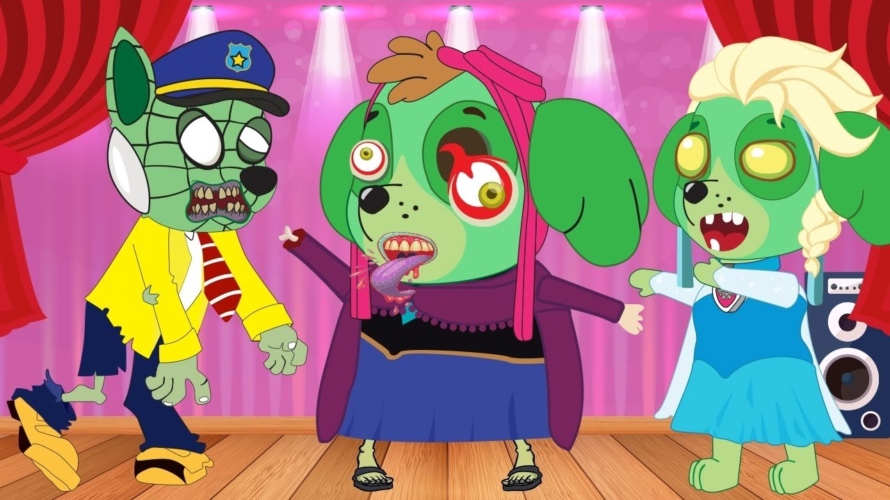 kids tv paw patrol family turned into zombie to love music