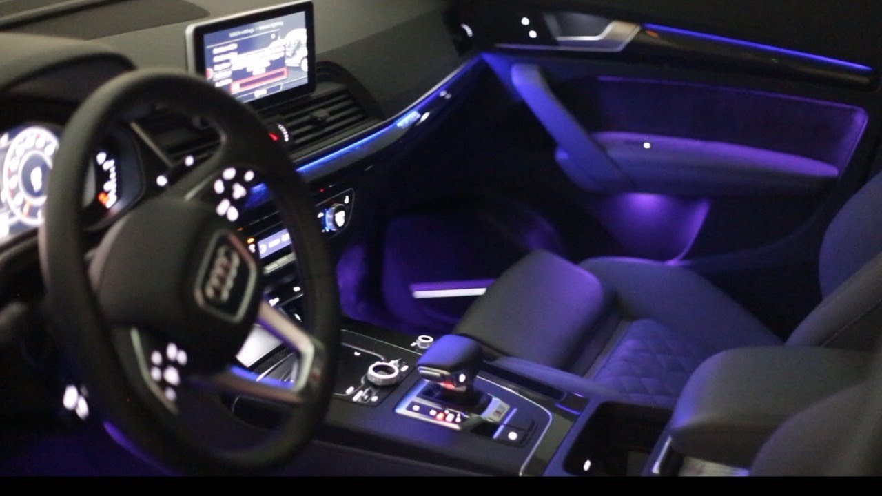 audi sq5 ambient lighting at night youtube. Black Bedroom Furniture Sets. Home Design Ideas