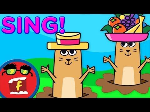 Pop Goes the Weasel Lyrics Video | Fredbot Kids Songs (Lucy the Dinosaur)