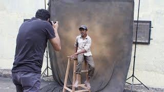 Quick outdoor studio setup for portrait photography
