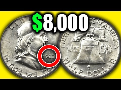 DO YOU HAVE A SILVER FRANKLIN HALF DOLLAR - THESE 1962 HALF DOLLARS COINS ARE WORTH MONEY