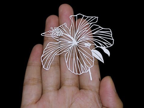 Papercut Animation   Hibiscus Flower blooming and Growing Time-Lapse   Papercutting   Paper Cut Out