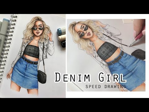 DENIM GIRL Speed Drawing