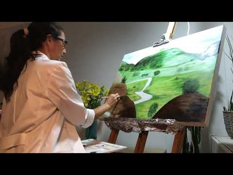 Painting A Realistic Landscape / Blending in Acrylic /  Demonstration  /  Coloured Brush