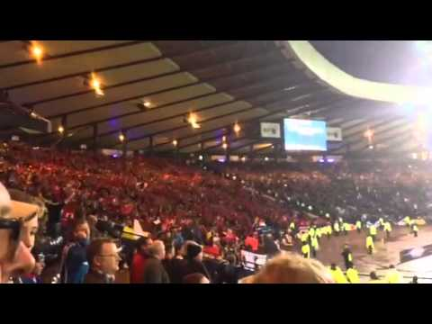 Belgian fans singing Loch Lomond