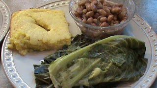 Collards, Pinto Beans and Cornbread