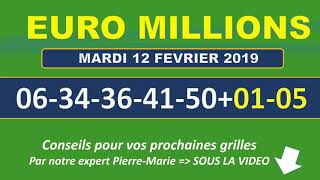 EUROMILLIONS NUMEROS GAGNANTS TIRAGE MARDI 12 FEVRIER 2019