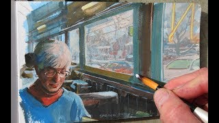 Painting in Gouache in a Diner