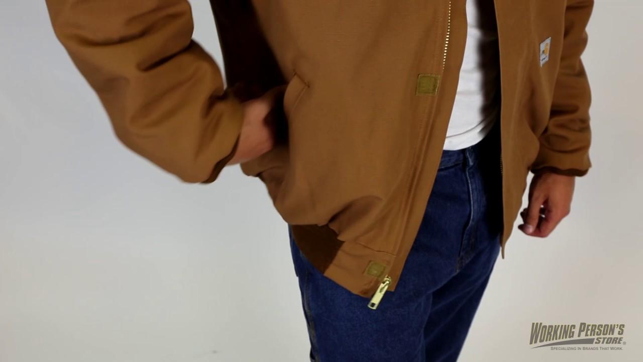 c079c9e2db8 Carhartt Men s 101623 FR Lined Duck Bomber Jacket - YouTube