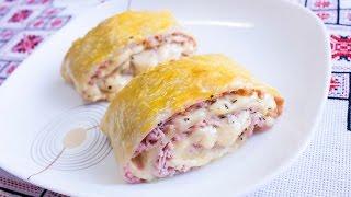 Рулетики из слоеного теста с сыром и колбасой Что приготовить из слоеного теста Слоёное тесто рецепт