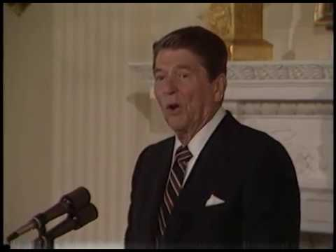 The Reagans make Remarks at the National Medal of Arts Luncheon on April 23, 1985