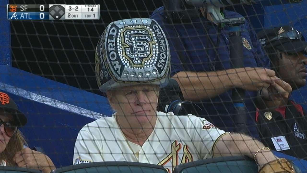 Giants fan wears huge World Series ring hat - YouTube 41f084687147