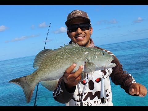 TOP WATER GREAT BARRIER REEF FISHING- BIG GT STRIKE- CORAL TROUT- RED THROAT EMPEROR