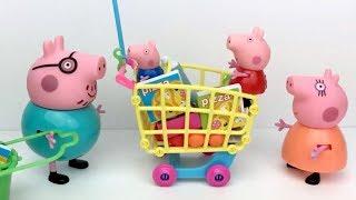 Peppa pig en español:la cerdita y su familia montan un supermercado.Videos de juguetes para niños
