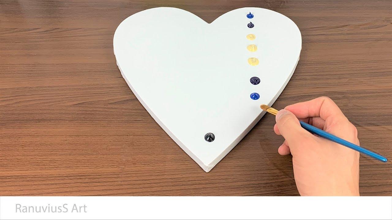Easy Landscape Painting On Heart Shape Canvas Daily Art 289 Acrylic Youtube