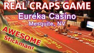 Live Craps Game #13 - FUN STICKMAN - Eureka Casino, Mesquite, NV - Inside the Casino