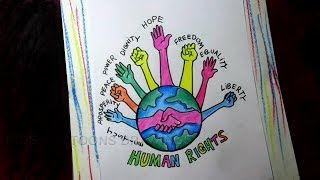 How to Draw Human Rights Poster Drawing for Kids