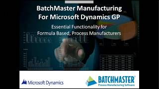 Discover the Essential Process Manufacturing Functions in Dynamics GP