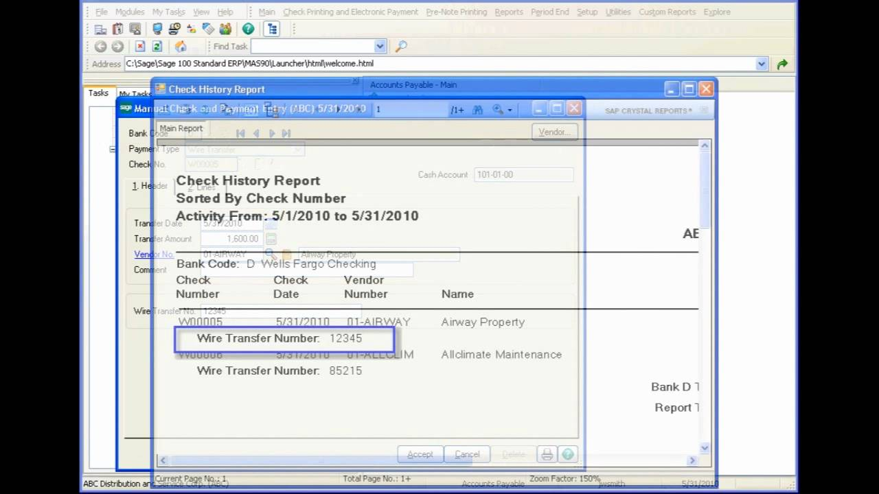 Sage 100 ERP - Set Up and Enter a Wire Transfer - YouTube