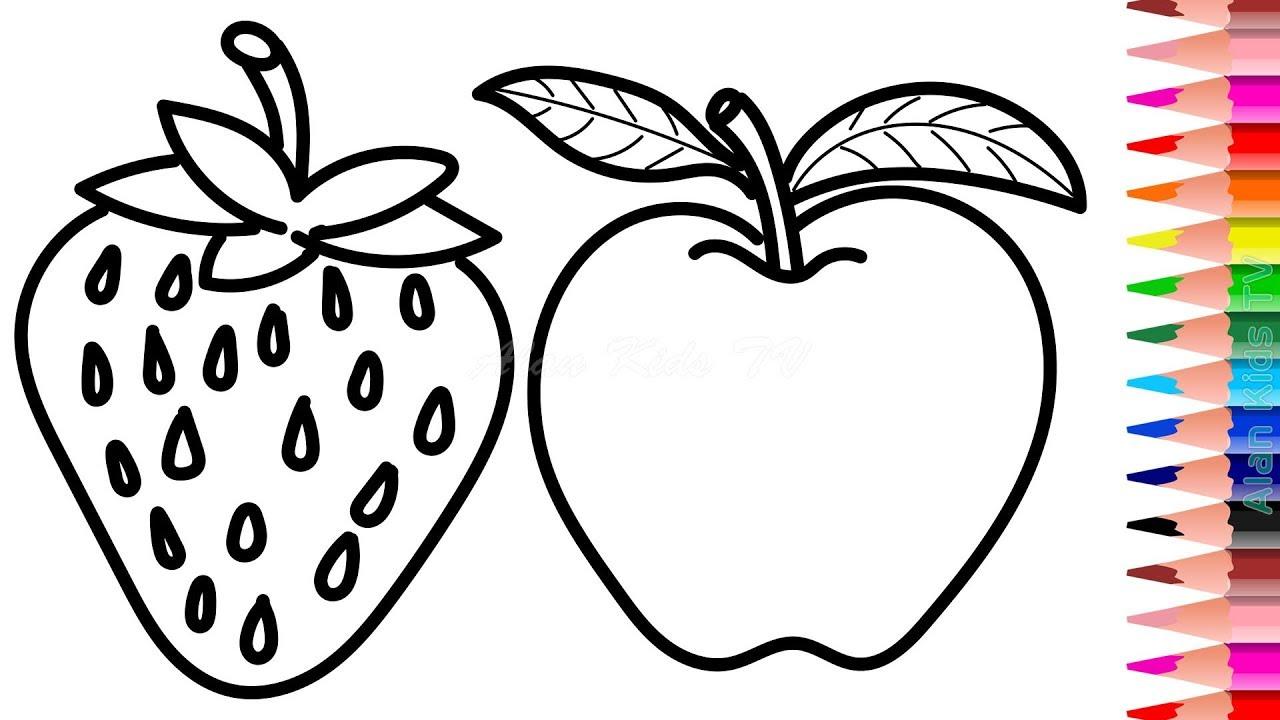 gambar sketsa apel merah mewarnai buah buahan sketsa