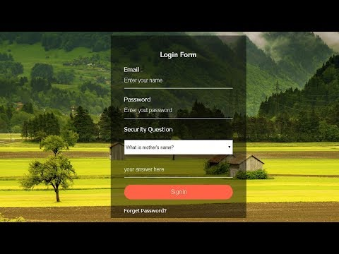 Transparent Login Form With HTML & CSS | How To Create Transparent Login Form Using HTML And CSS