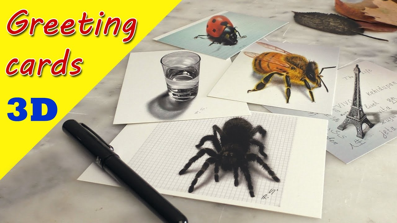 Greeting Cards by Stefan Pabst/ 3D Drawings on postcard