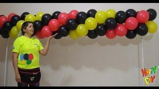 arco de balões espiral 3 cores tema mickey guirlanda de balões espiral 3 cores