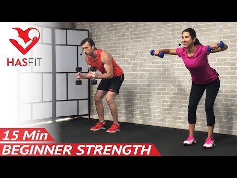 15 Min Beginner Weight Training for Beginners Workout: Strength Training Dumbbell Workouts Women Men