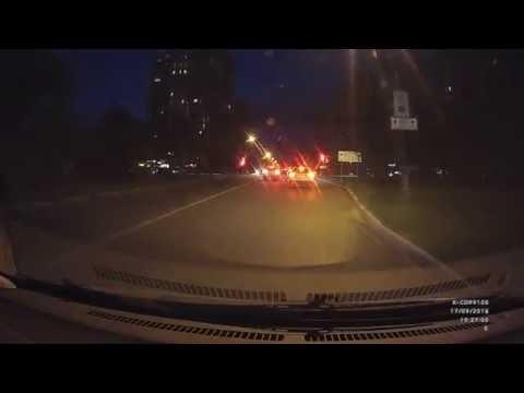 Запись автомобильного гибрида видеорегистратора NEOLINE X-COP 9100, ночная съемка