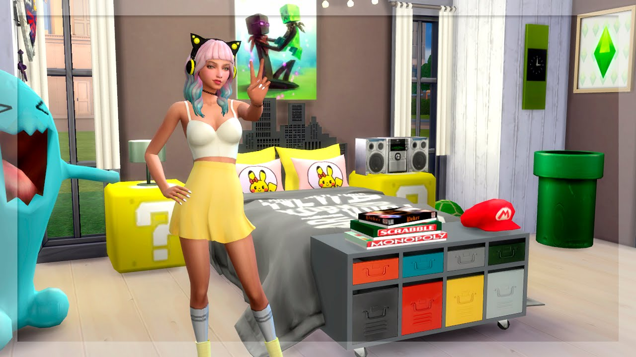 Habitaci n friki gamer los sims 4 speed room youtube for Decoracion gamer