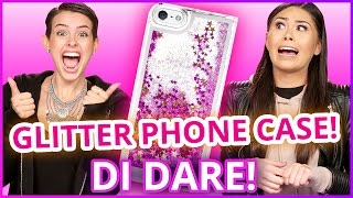DIY LIQUID GLITTER PHONE CASE?! Di Dare w/ Lisa Cimorelli & Roxette Arisa