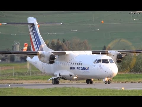 ATR 42 takes off at airport Bern-Belp HD