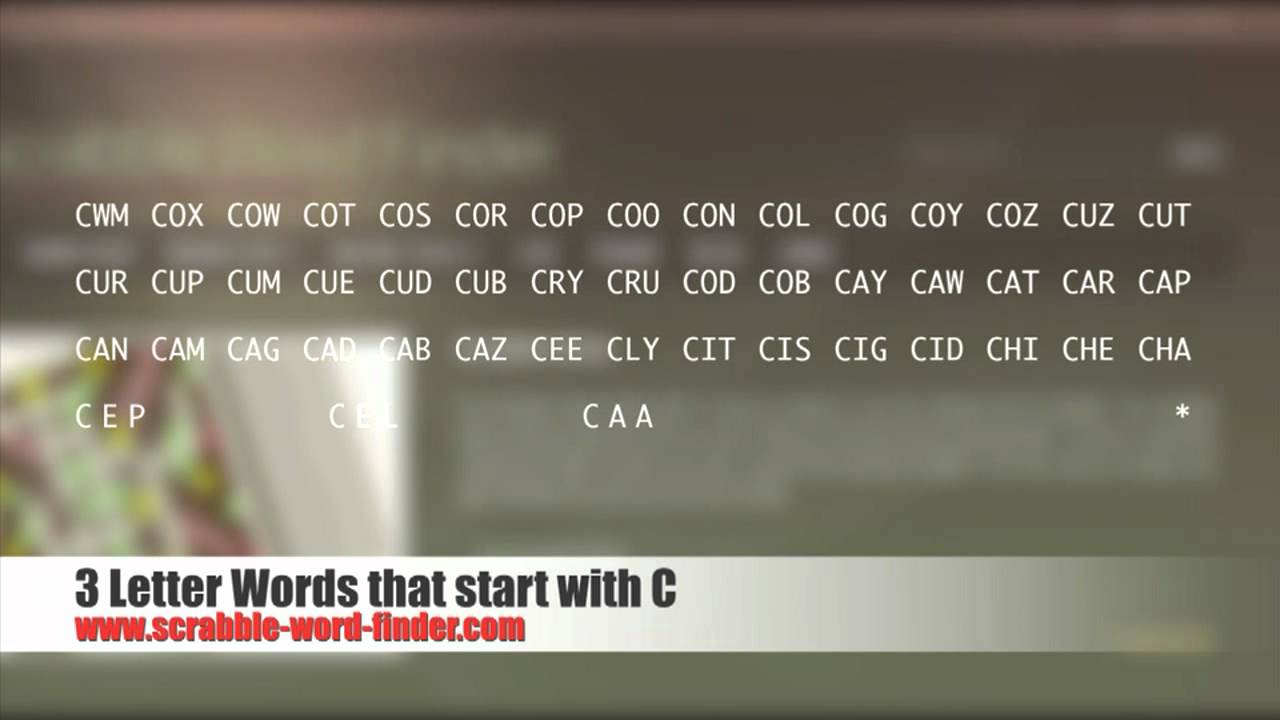 3 letter words that start with C   YouTube