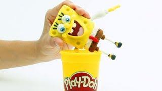 Spongebob dress up cartoon 💕Superhero Play Doh Stop motion videos