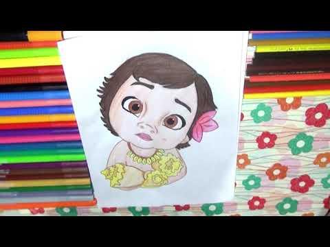 Dibujando A Moana Bebe Princesas De Disney Youtube