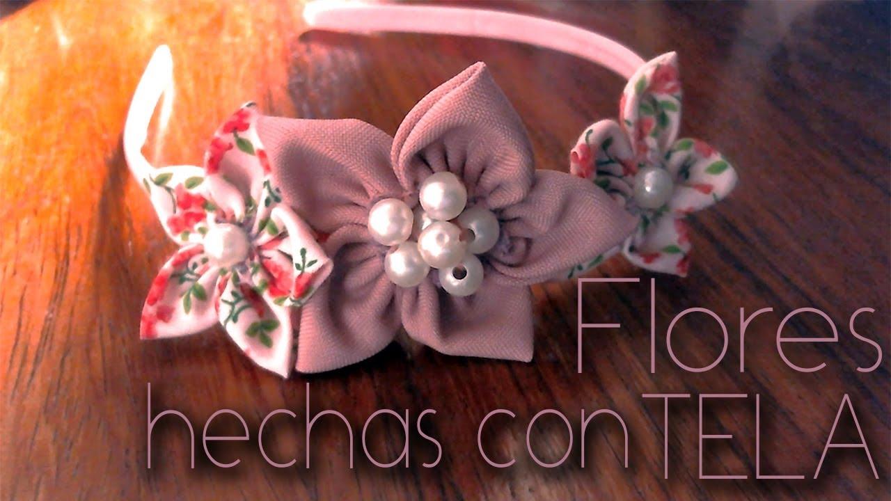 Flores hechas con tela fabric flowers youtube - Colgador de tela con bolsillos ...