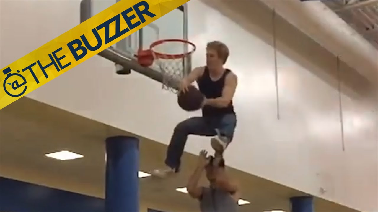18a411465646 Peter Olson is only 5-foot-10 but he can throw down impressive dunks …  while wearing jeans